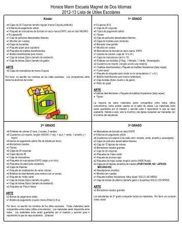Horace Mann Escuela Magnet de Dos Idiomas 2012-13 Lista de ...