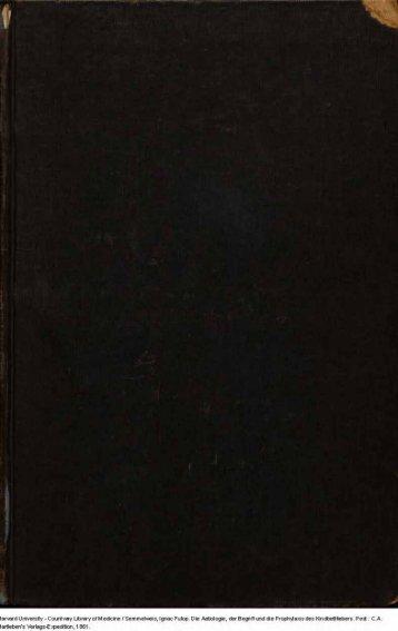 Die Aetiologie, der Begriff und die Prophylaxis des ... - MEK