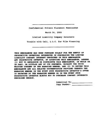 Confidential Private Placement Memorandum - Lackawanna County