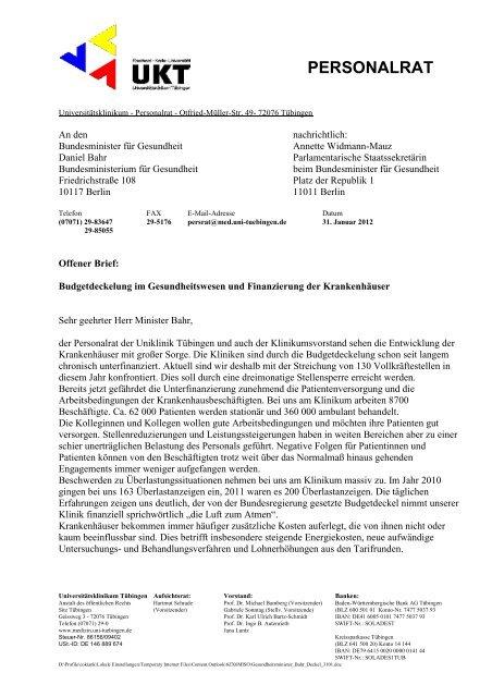 Offener Brief Des Pr Der Uniklinik Tübingen An Den