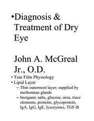 •Diagnosis & Treatment of Dry Eye John A. McGreal Jr., O.D.