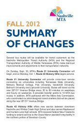 summary of changes fall 2012 - Nashville MTA