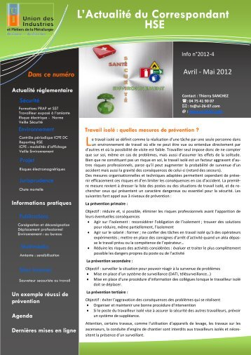 Lire le bulletin hygiène et sécurité n° 4-2012