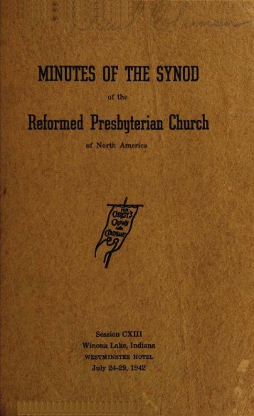 Reformed Presbyterian Minutes of Synod 1942 - Rparchives.org