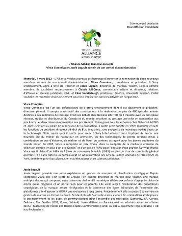 L'Alliance Médias Jeunesse accueille Vince Commisso et Josée ...