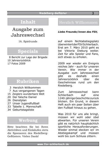 Riedelberg- Geflüster Ausgabe zum - FSV Schlierbach