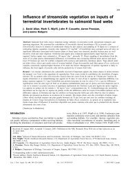 Influence of streamside vegetation on inputs of terrestrial ...