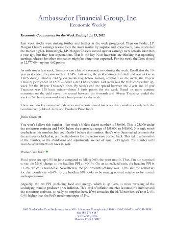 7-16-12 Economic Weekly - Ambassador Financial Group