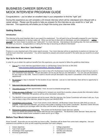 Mock Job Interview Document