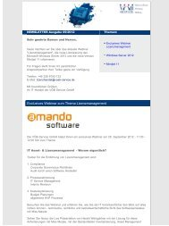 September 2012 Einladung Webinar zum Thema Lizenzmanagement