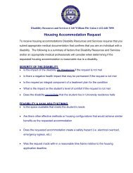 Disability Resources and Services-Housing Accomodation Request