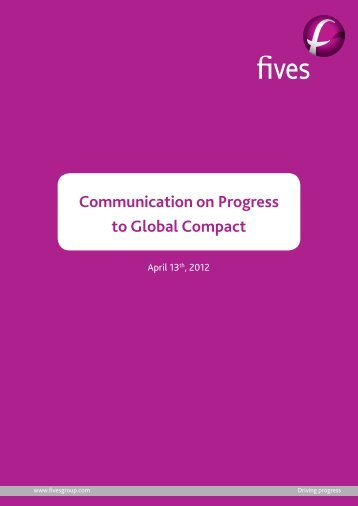 Communication on Progress to Global Compact - Fives