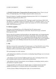 LUNDS UNIVERSITET KURSPLAN A. SOAM11 Socialt arbete ...