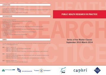 Public HealtH ReseaRcH in PRactice series of ffve Master classes ...
