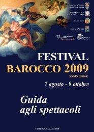 FESTIVAL BAROCCO 2009 Guida agli spettacoli - Provincia di Viterbo