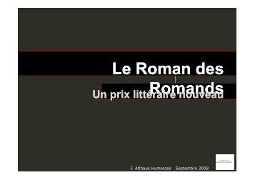 Présentation générale (.pdf) - Roman des Romands
