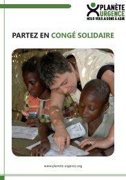 PARTEZ EN CONGÉ SOLIDAIRE - Planète Urgence