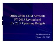 Office of the Child Advocate FY 2013 Revised and FY 2014 ... - State