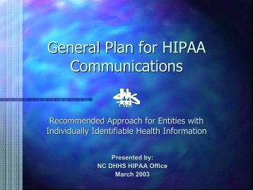 General Plan for HIPAA Communications