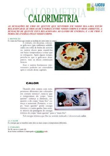 Apostila 1 | Calorimetria - liceu.net