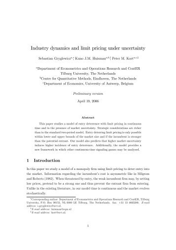 Industry dynamics and limit pricing under uncertainty