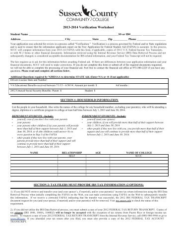 2013-2014 Verification Worksheet