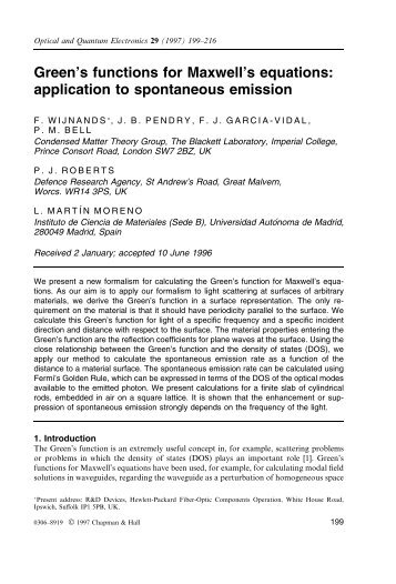 Green's functions for Maxwell's equations - Condensed Matter Theory
