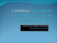 LifeSteps: Williamson County Coalition on Underage Drinking