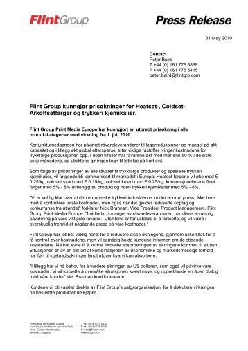 Flint Group kunngjør prisøkninger for Heatset-, Coldset ...