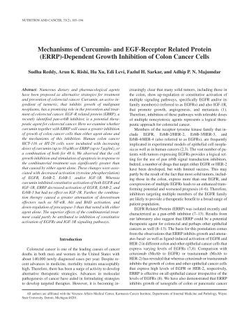 Mechanisms of Curcumin- and EGF-Receptor Related Protein (ERRP)