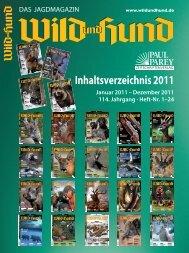 Inhaltsverzeichnis 2011 - Wild und Hund