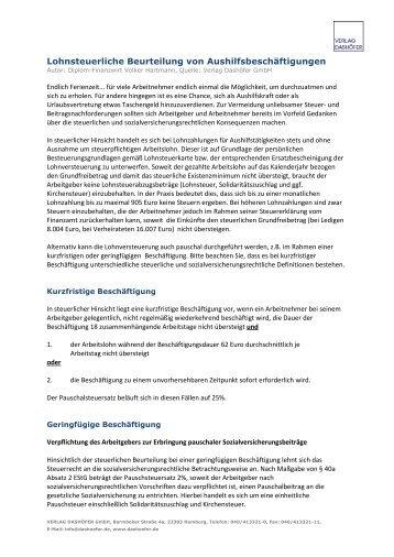 Lohnsteuerliche Beurteilung von Aushilfsbeschäftigungen