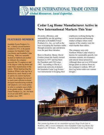 Cedar Log Home Manufacturer Active in New International Markets ...