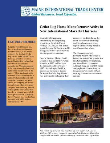 Cedar Log Home Manufacturer Active in New International Markets ...