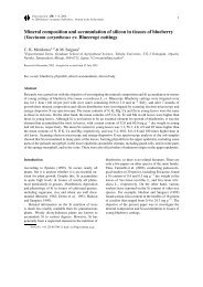 Mineral composition and accumulation of silicon in tissues of ...