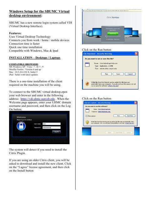 Windows Setup for the SBUMC Virtual desktop     - Remote Access