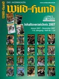 Inhaltsverzeichnis 2007 - Wild und Hund