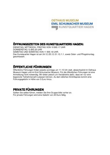 Preisliste als pdf downloaden - Osthaus Museum Hagen