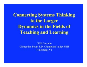 Connecting Systems Thinking to the Larger Dynamics - Creative ...