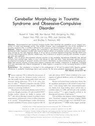 Cerebellar Morphology in Tourette Syndrome and Comorbid ...