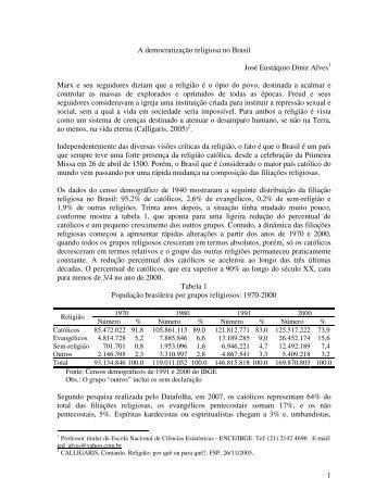 1 A democratização religiosa no Brasil José Eustáquio Diniz Alves ...