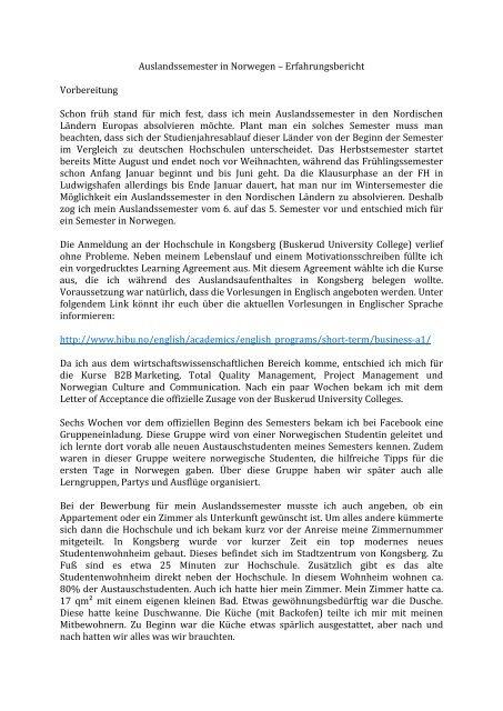 Auslandssemester In Norwegen Erfahrungsbericht Vorbereitung