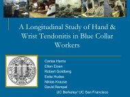 A Longitudinal Study of Wrist Tendonitis in Blue Collar Workers