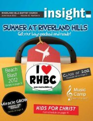 Volume 42 Number 6 RIVERLAND HILLS BAPTIST CHURCH June ...