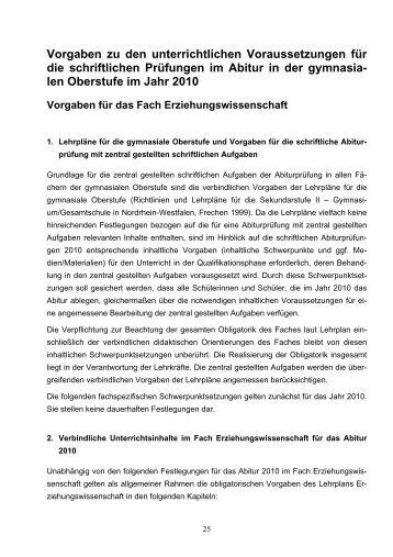 Vorgaben Abitur 2010 - Gesamtschule Eiserfeld