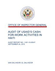 Audit of USAID's Cash-for-Work Activities in Haiti - US Agency For ...
