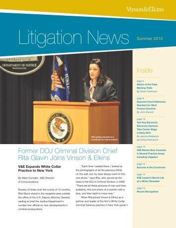 Litigation News - Vinson & Elkins LLP
