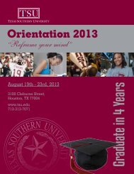 new Student Orientation - Texas Southern University: ::em.tsu.edu