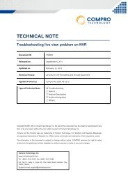 Troubleshooting live view problem on NVR (PDF) - Compro