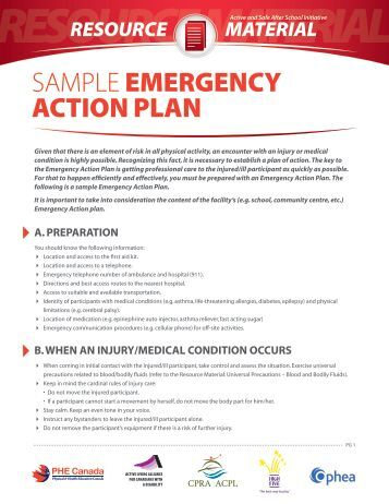 4 emergency action plan template for sports emergency action plan